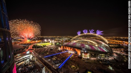 DOHA, QATAR - MAY 19:  In this handout image supplied by Qatar 2022,  Fireworks over Khalifa International  Stadium during the official opening ceremony of Khalifa International  Stadium on May 19, 2017 in Doha, Qatar. Qatar's Supreme Committee for Delivery & Legacy launches Khalifa International Stadium, the first completed 2022 FIFA World Cup venue, five years before the tournament begins. (Photo by Supreme Committee for Delivery & Legacy/Qatar 2022 via Getty Images)