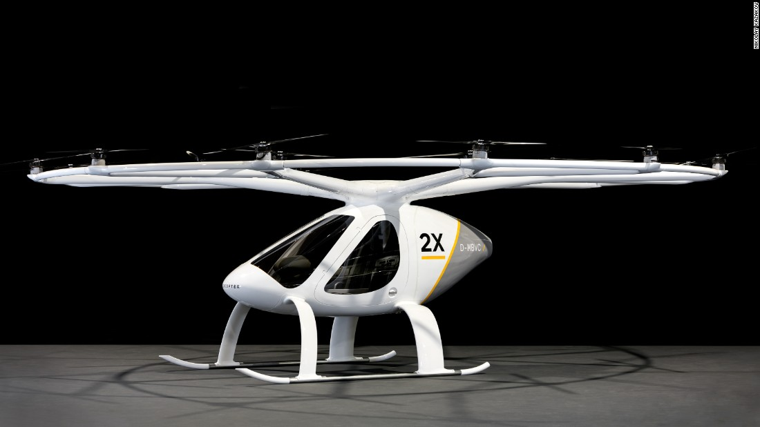 Developed by German startup e-volo, the Volocopter has been in the works since 2010. After releasing various prototypes of the VTOL through the years, in April 2017 e-volo unveiled the 2X. An evolution of previous designs, the 2X carries two passengers and is pilot-controlled -- although there are plans for it to become autonomous eventually.