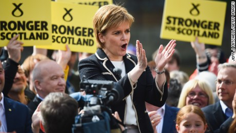 SNP Leader Nicola Sturgeon, holds a final campaign rally in Leith on July 7, 2017 in Edinburgh, Scotland.