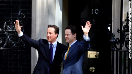 The last time there was a coalition government in Britain was in 2010 when David Cameron's Conservative Party worked alongsie Nick Clegg's Liberal Democrats.