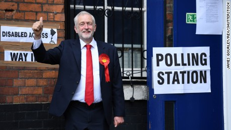 Jeremy Corbyn arrives to cast his vote at the Pakeman Primary School polling station in Islington.
