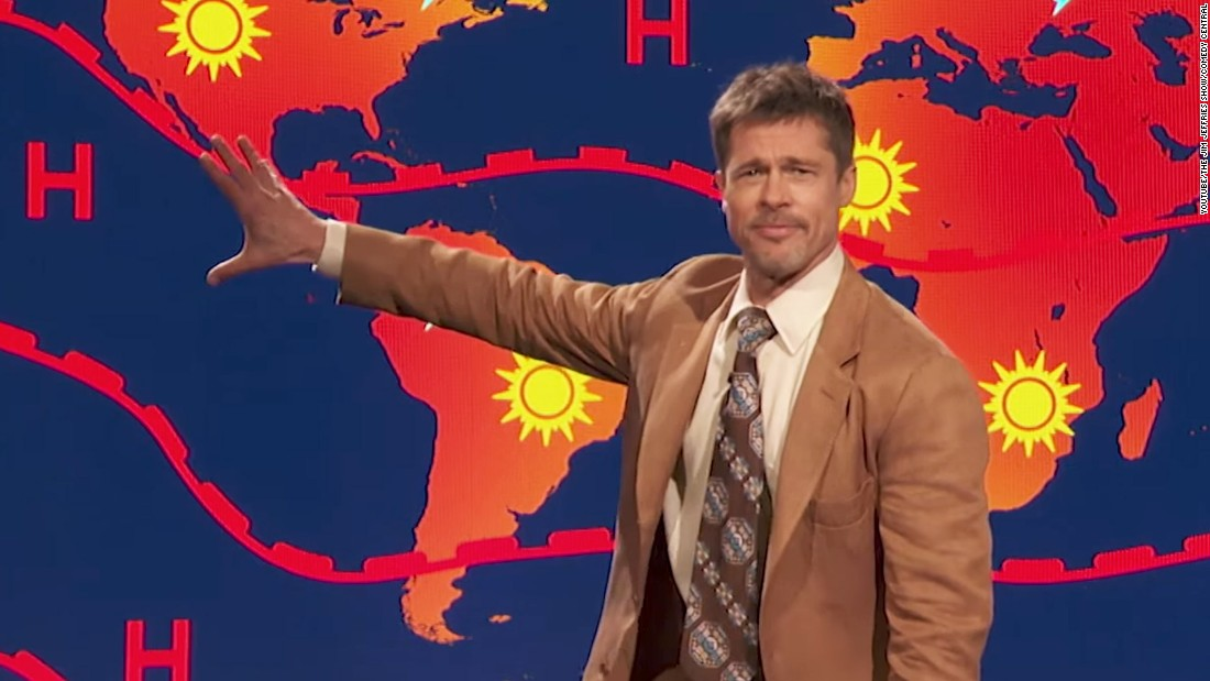 Brad Pitt Delivers Grim Weather Report On 'Jim Jefferies Show'