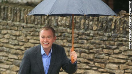 Liberal Democrats leader Tim Farron arrives to cast his vote at a polling station at Stonecross Manor Hotel in Kendal, Cumbria.