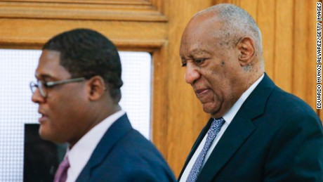 Actor Bill Cosby and aide Andrew Wyatt arrive for Cosby's trial on sexual assault charges at the Montgomery County Courthouse on June 8, 2017. in Norristown, Pennsylvania.