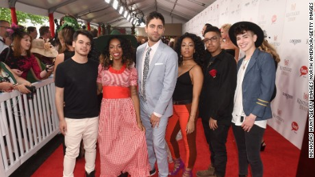 LOUISVILLE, KY - MAY 07:  Actor Adrian Grenier (C) poses with the band The Skins at the 142nd Kentucky Derby at Churchill Downs on May 7, 2016 in Louisville, Kentucky.  (Photo by Nicholas Hunt/Getty Images)