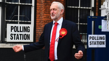Britain's main opposition Labour Party leader Jeremy Corbyn is pictured at a polling station to cast his vote.