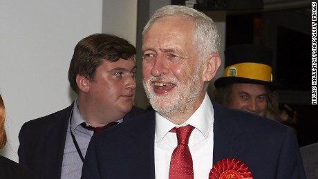 A smiling Jeremy Corbyn, Labour party leader, arrives at the count centre in Islington, London, in the morning of June 9, 2017, hours after the polls closed in Britain's general election.  (Photo credit should read Niklas Halle'n/AFP/Getty Images)