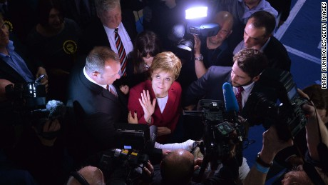 First Minister and SNP Leader Nicola Sturgeon arrives at the counting hall during the UK Parliamentary Elections at the Emirates Arena on June 9, 2017 in Glasgow, Scotland.