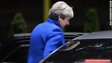 LONDON, ENGLAND - JUNE 09:  British Prime Minister departs Downing Street for Buckingham Palace on June 9, 2017 in London, United Kingdom. After a snap election was called by Prime Minister Theresa May the United Kingdom went to the polls yesterday. The closely fought election has failed to return a clear overall majority winner and a hung parliament has been declared.  (Photo by Carl Court/Getty Images)