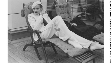 Marlene Dietrich on the SS Europa in Cherbourg, France, 1933
