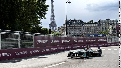 PARIS, FRANCE - MAY 20TH: In this handout supplied by Jaguar Racing - Mitch Evans (NZL), Jaguar Racing, Spark-Jaguar, Jaguar I-Type 1 during the Paris ePrix, sixth round of the 2016/17 FIA Formula E Series on May 20, 2017 in Paris, France. (Photo by Steven Tee/LAT Images / Jaguar Racing via Getty Images)