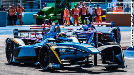 Switzerland's Sebastien Buemi with Renault is pictured on his way to winning the Berlin leg of the Formula E electric car Championships on June 11, 2017. / AFP PHOTO / John MACDOUGALL        (Photo credit should read JOHN MACDOUGALL/AFP/Getty Images)