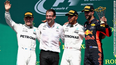 The top three drivers celebrate on the podium at Sunday's Canadian Grand Prix.