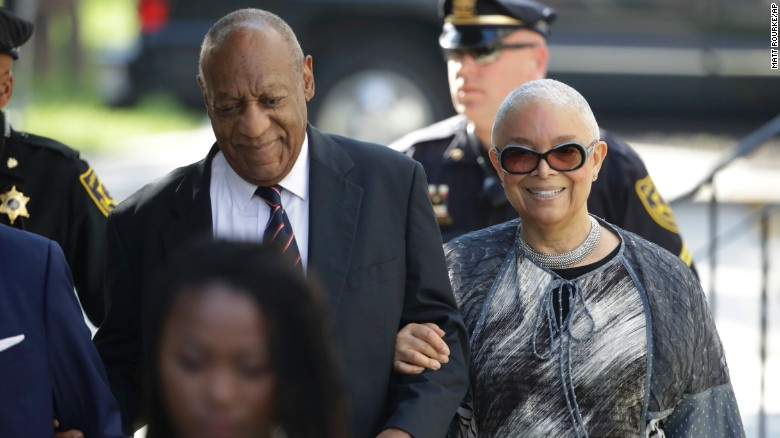 Bill Cosby arrives for his sexual assault trial with his wife Camille Cosby, right, at the Montgomery County Courthouse in Norristown, Pa., Monday, June 12, 2017. (AP Photo/Matt Rourke)