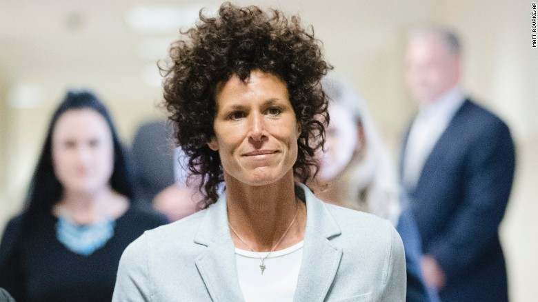 Andrea Constand walks to the courtroom during Bill Cosby's assault trial.
