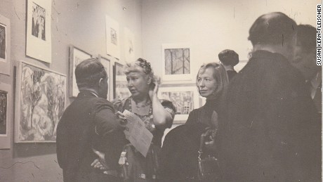 Artist Hazel Guggenheim McKinley, left, and Jenifer Gordon Cosgriff at an art gallery.
