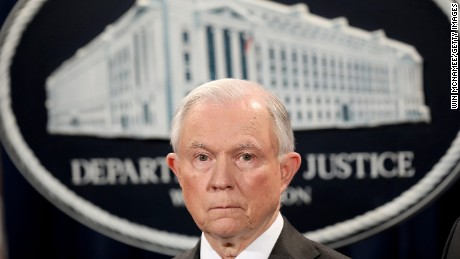 "US Attorney General Jeff Sessions speaks during an event at the Justice Department May 12 in Washington, DC. Sessions was presented with an award ""honoring his support of law enforcement"" by the Sergeants Benevolent Association of New York City during the event."