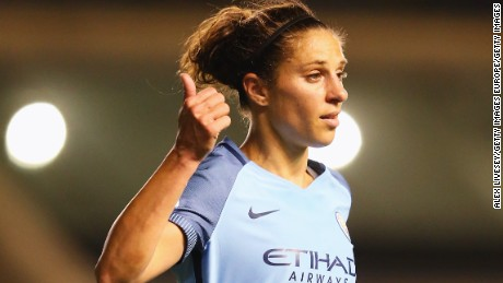 MANCHESTER, ENGLAND - MARCH 30:  Carli Lloyd of Manchester City signals during the UEFA Women's Champions League Quarter Final second leg match between Manchester City and Fortuna at Mini Stadium on March 30, 2017 in Manchester, England.  (Photo by Alex Livesey/Getty Images)