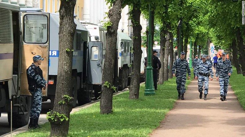 Police arrive at the Field of Mars park in St. Petersburg.