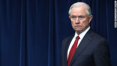 Attorney General Jeff Sessions prepares to give remarks related to a reconstituted travel ban during a news conference at the U.S. Customs and Borders Protection headquarters, on March 6 in Washington, DC.