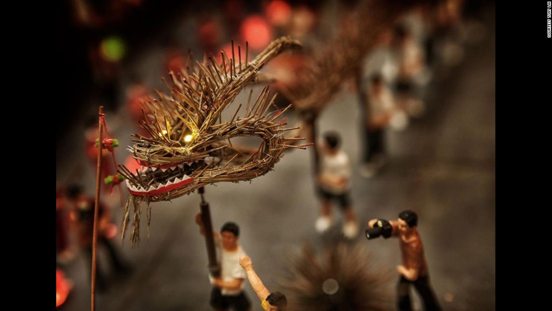 With mesmerizing attention to detail, Lai adds miniature lights to the dragon's eyes for dramatic effect.