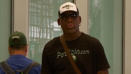 CNN spotted Rodman at Beijing's airport, where he declined to answer questions.