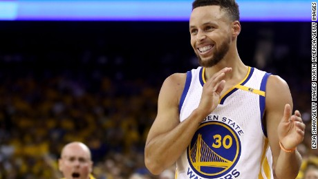 OAKLAND, CA - JUNE 12:  Stephen Curry #30 of the Golden State Warriors reacts to a play in Game 5 of the 2017 NBA Finals at ORACLE Arena on June 12, 2017 in Oakland, California. NOTE TO USER: User expressly acknowledges and agrees that, by downloading and or using this photograph, User is consenting to the terms and conditions of the Getty Images License Agreement.  (Photo by Ezra Shaw/Getty Images)