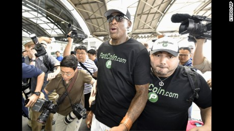 Former National Basketball Association star Dennis Rodman (C) arrives at Beijing Capital International Airport on June 13, 2017. It has been reported that Rodman will visit North Korea at a time of heightened tensions between Washington and Pyongyang. (Kyodo)