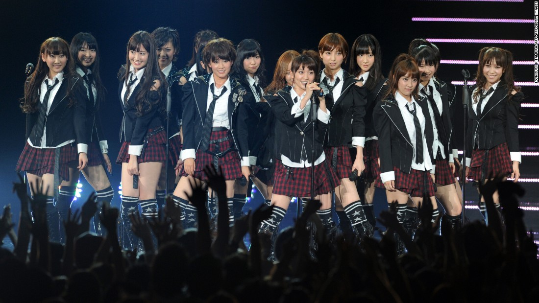 The Japanese pop group AKB48 at the charity concert MTV Video Music Aid Japan at Chiba City in suburban Tokyo on June 25, 2011.