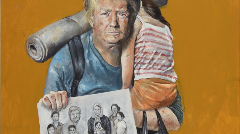 Artist turns Trump into a refugee