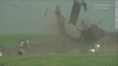 Tornado tears barn apart in seconds
