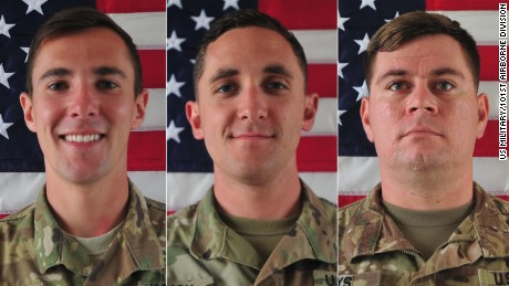 Army confirms the names of three 101st Soldiers killed in Afghanistan FORT CAMPBELL, Ky., June 12, 2017 - The Department of Defense announced the death of three 101st Airborne Division (Air Assault) Soldiers who died Saturday, June 10, 2017, from wounds sustained in Nangarhar Province, Afghanistan, while supporting Operation Freedom's Sentinel.  The three Soldiers have been identified as Cpl. Dillon C. Baldridge, 22, of Youngsville, North Carolina, Sgt. Eric M. Houck, 25, of Baltimore, Maryland, and Sgt. William M. Bays, 29, of Barstow, California.