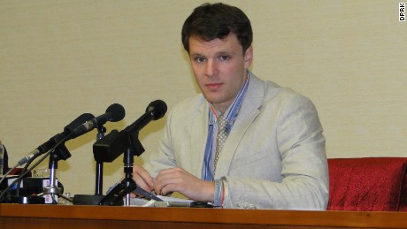 An American college student detained for two months in North Korea gave an emotional press conference Monday.
