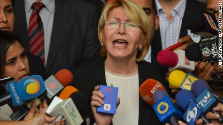 Venezuela's Attorney General Luisa Ortega Diaz speaks to the media during a press conference, outside the Supreme Court of Justice building in Caracas on June 8, 2017. Ortega Diaz started a nullity appeal against Venezuelan President Nicolas Maduro's referendum on contested constitutional reforms. / AFP PHOTO / LUIS ROBAYO        (Photo credit should read LUIS ROBAYO/AFP/Getty Images)