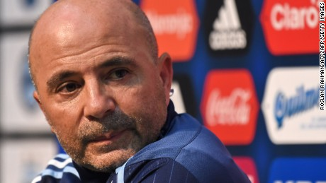 CORRECTION - Argentina's football team coach Jorge Sampaoli attends a pre-match press conference at the National Stadium in Singapore on June 12, 2017. Argentina will play Singapore in an international friendly football match at the National Stadium on June 13. / AFP PHOTO / ROSLAN RAHMAN / The erroneous mention[s] appearing in the metadata of this photo by ROSLAN RAHMAN has been modified in AFP systems in the following manner: [coach Jorge Sampaoli] instead of [assistant coach Jorge Desio]. Please immediately remove the erroneous mention[s] from all your online services and delete it (them) from your servers. If you have been authorized by AFP to distribute it (them) to third parties, please ensure that the same actions are carried out by them. Failure to promptly comply with these instructions will entail liability on your part for any continued or post notification usage. Therefore we thank you very much for all your attention and prompt action. We are sorry for the inconvenience this notification may cause and remain at your disposal for any further information you may require.        (Photo credit should read ROSLAN RAHMAN/AFP/Getty Images)