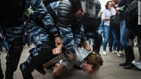 Ivan Avdeev says he'll contine to protest, despite being slammed to the ground by police in Moscow on Monday.