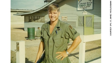 Then-Pfc. James McCloughan in front of the Vietnam Regional Exchange Snack Shop, 1969.