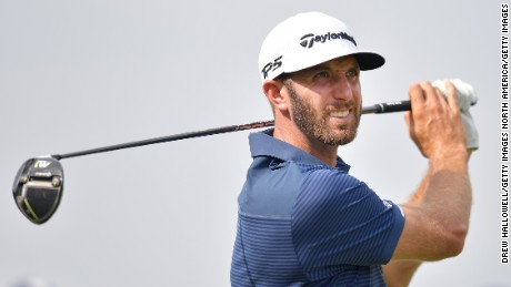 IRVING, TX - MAY 18:  Dustin Johnson hits a shot on the 16th tee during Round One of the AT&T Byron Nelson at the TPC Four Seasons Resort Las Colinas on May 18, 2017 in Irving, Texas.  (Photo by Drew Hallowell/Getty Images)