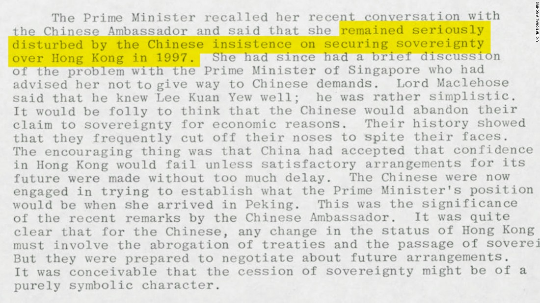 "Before negotiations over Hong Kong began in earnest, Thatcher said she was ""disturbed"" by Chinese insistence on asserting sovereignty over the city. Original image altered for clarity."
