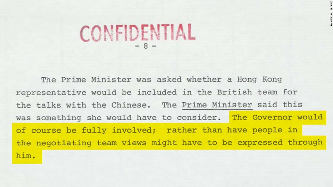 In talks over Hong Kong's future, Thatcher suggested the city would be represented by its Governor, an unelected colonial official. Original image altered for clarity.