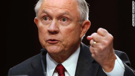 Attorney General Jeff Sessions gestures as he testifies on Capitol Hill in Washington, Tuesday, June 13, 2017, before the Senate Intelligence Committee hearing about his role in the firing of James Comey, his Russian contacts during the campaign and his decision to recuse from an investigation into possible ties between Moscow and associates of President Donald Trump.
