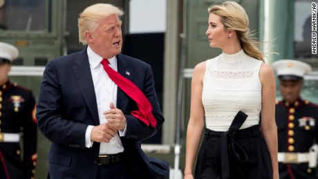 President Donald Trump and Ivanka Trump, the daughter of President Donald Trump, walk across the tarmac to board Air Force One at Andrews Air Force Base, Tuesday, June 13, 2017, to travel to Milwaukee, Wis. (AP Photo/Andrew Harnik)