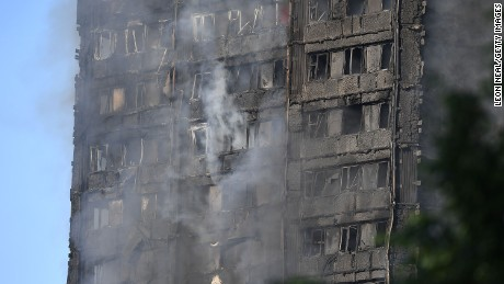 LONDON, ENGLAND - JUNE 14:  Smoke rises from the building after a huge fire engulfed the 24 story Grenfell Tower in Latimer Road, West London in the early hours of this morning on June 14, 2017 in London, England.  The Mayor of London, Sadiq Khan, has declared the fire a major incident as more than 200 firefighters are still tackling the blaze while at least 30 people are receiving hospital treatment.  (Photo by Leon Neal/Getty Images)