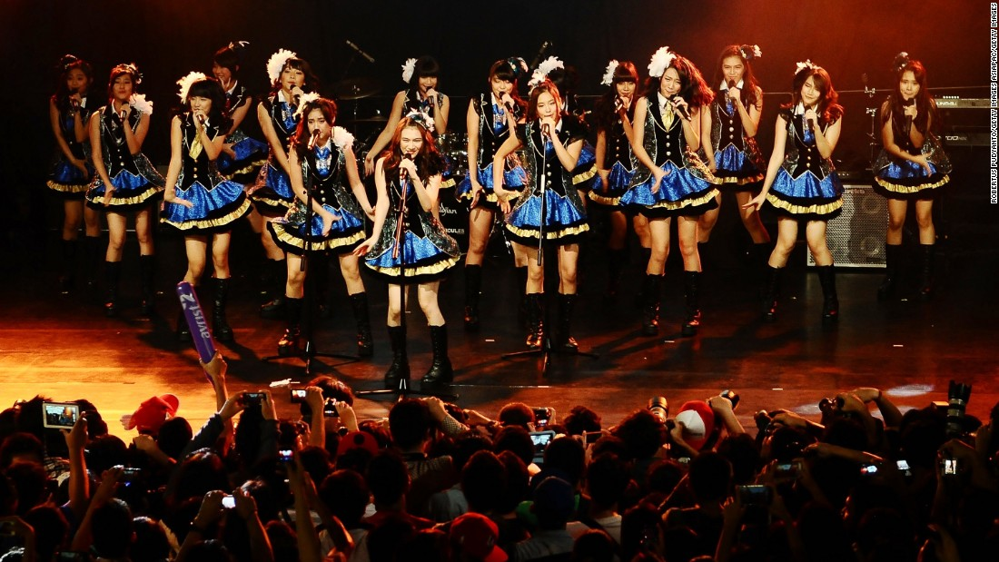 JAKB48 sister group JKT48 performs at the Jakarta International Java Jazz Festival on March 1, 2014 in Jakarta, Indonesia.