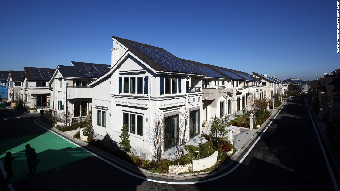 "Fujisawa in Japan is a ""sustainable smart town"" built by Panasonic in collaboration with 17 other companies. Located 50km west of Tokyo and receiving its first batch of residents in November 2014, the town's infrastructure is based on a smart grid which connects every building to a central real-time energy network. This means the energy demands of the inhabitants are connected to the variables of renewable energy. <br />"