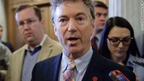 Sen. Rand Paul, R-Ky., a member of the Senate Foreign Relations Committee, speaks to reporters on the way to the confirmation vote for President Donald Trump's high court nominee, Neil Gorsuch, on Capitol Hill in Washington.