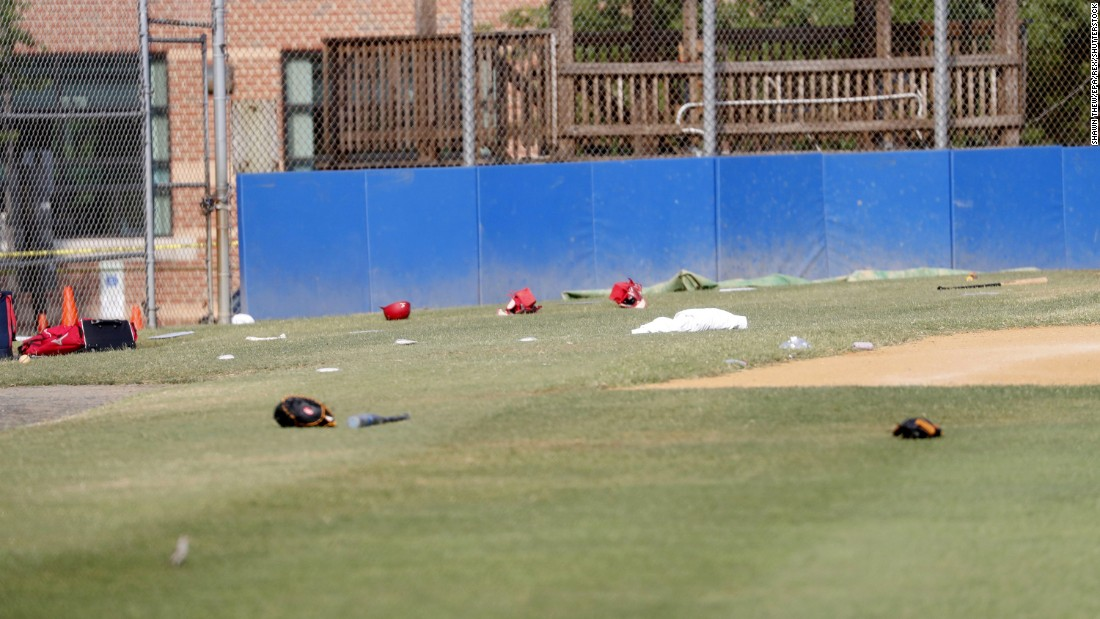 Baseball equipment is seen scattered on the field. Members of Congress were practicing for a game that is scheduled for Thursday night at Nationals Park. The annual congressional baseball game has been played since 1909.