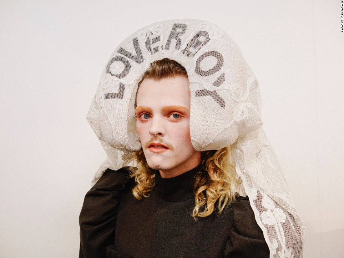 Chandler Tregaskis, 20, modeling for Charles Jeffrey LOVERBOY Spring-Summer 2018.