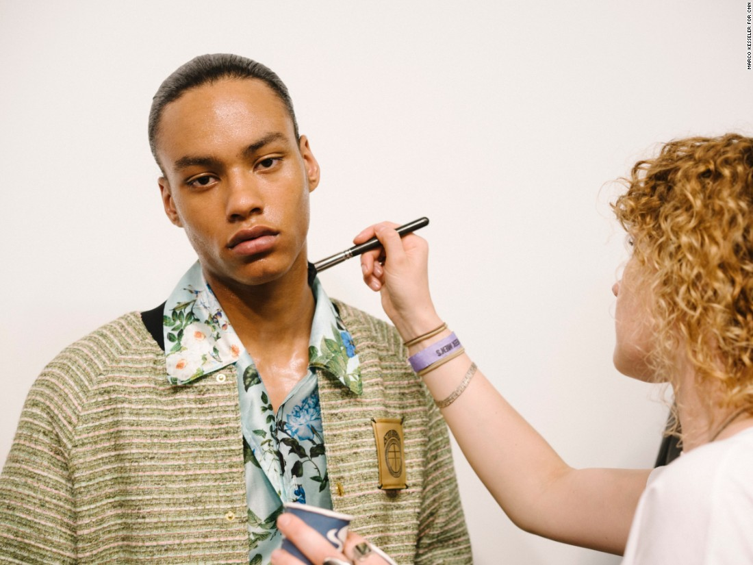Model Joseph Griffiths, 17, backstage at Astrid Andersen..