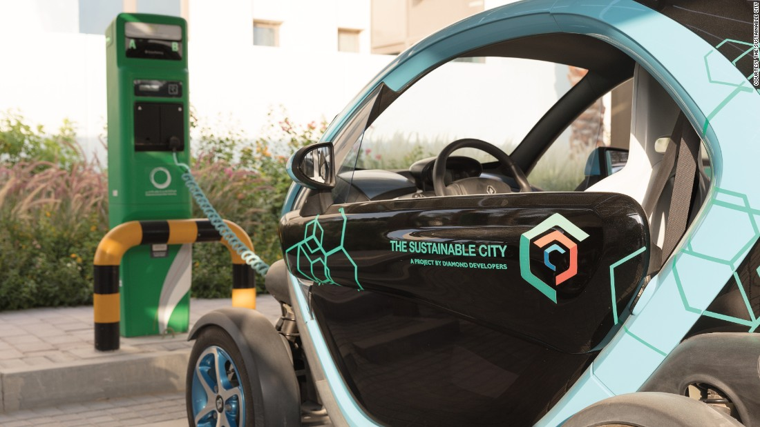The Sustainable City is free from polluting vehicles, and offers charging points for electric cars.